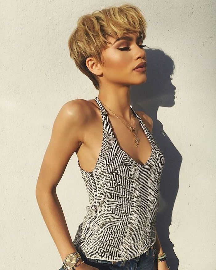photo of zendaya, with blonde hair, african american short hairstyles, black and white top