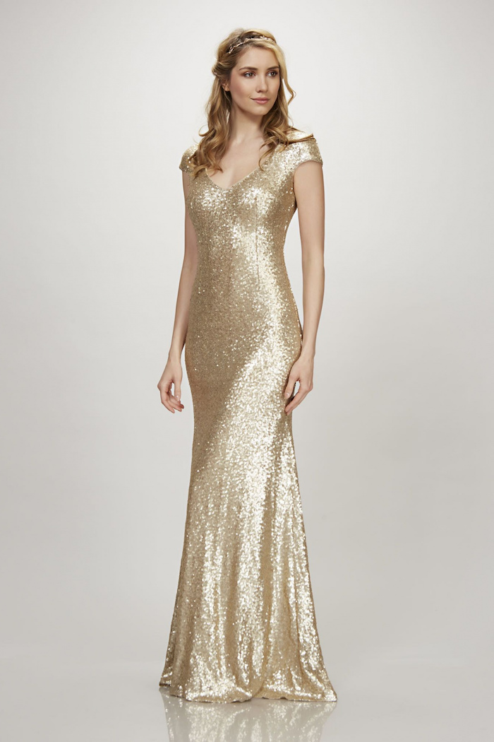 blonde wavy hair, gold sequin dress, off the shoulder bridesmaid dresses