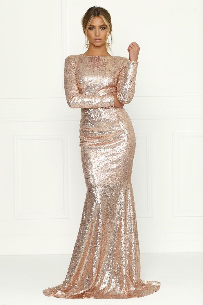 bridesmaid dresses, rose gold, long sleeves, sequinned dress, blonde hair, in a low updo