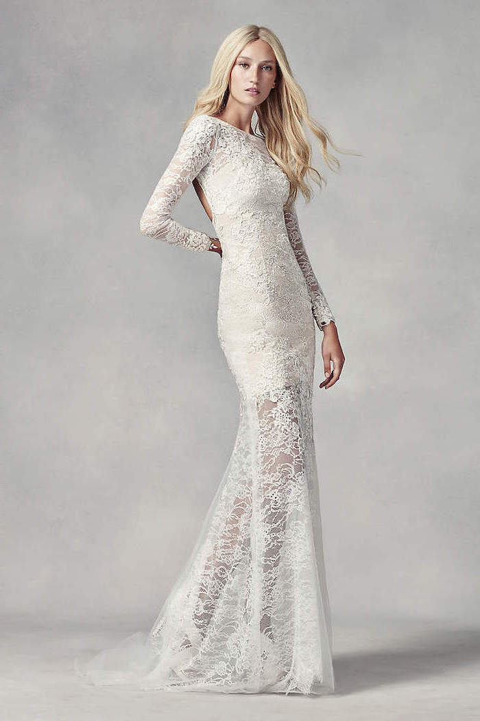 blonde long wavy hair, lace dress, beaded wedding dresses, white background