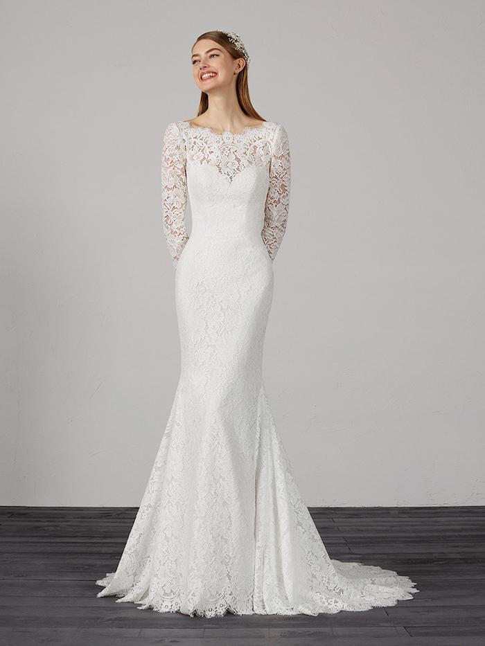 lace white dress, long sleeve wedding dresses, blonde straight hair, black wooden floor