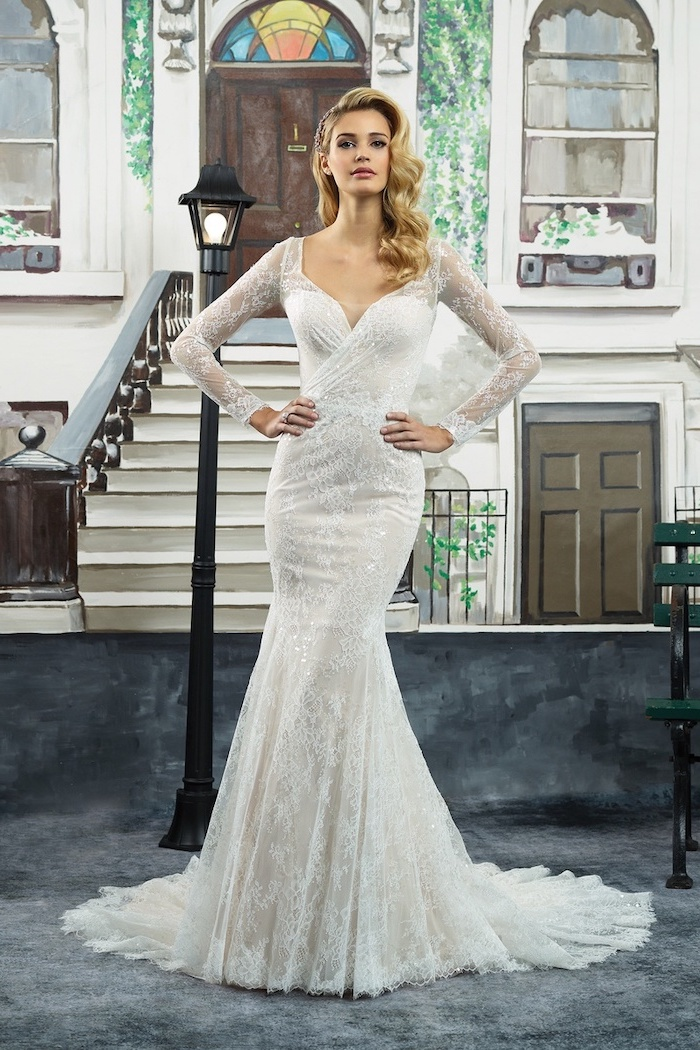 white lace dress, long sleeve lace wedding dress, long blonde wavy hair, v neckline
