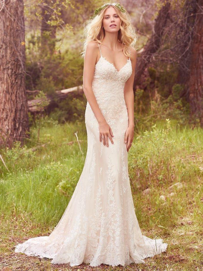 long lace dress, beach wedding dresses, long blonde wavy hair, flower crown, forest landscape