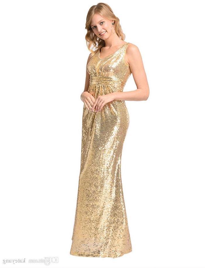 rose gold sequin bridesmaid dresses, blonde wavy hair, v neckline