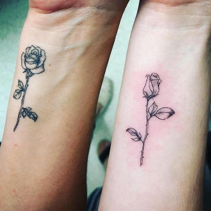 bloomed rose, blooming rose, mother daughter tattoo ideas, wrist tattoos