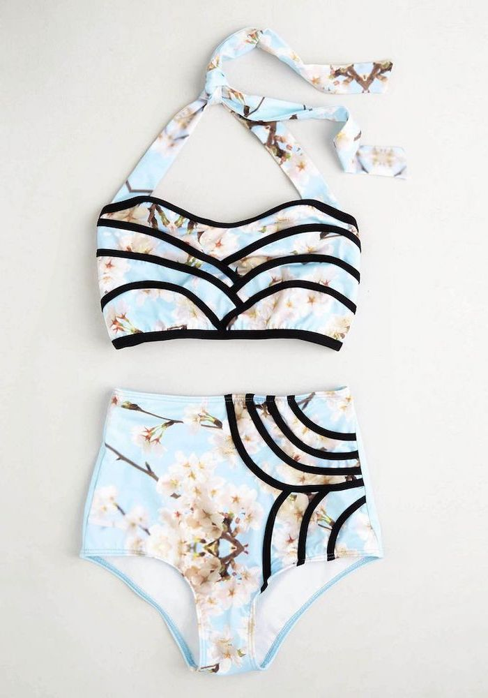 two piece, blue with blooming tree print, black lines, high waisted bottom, girls swimsuits