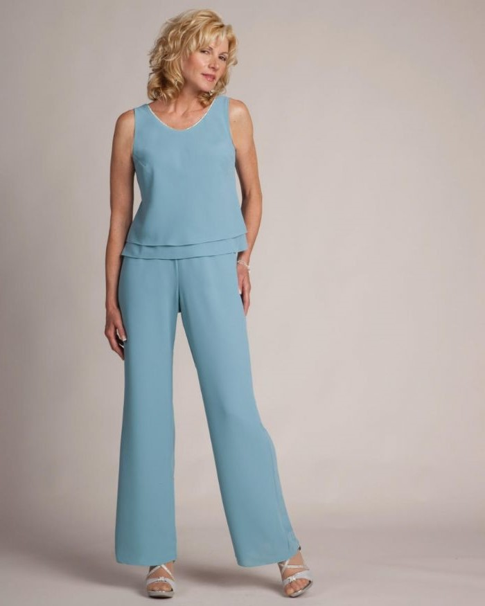 two piece, blue chiffon, top and pants, silver sandals, blonde curly hair, mother of the bride summer dresses