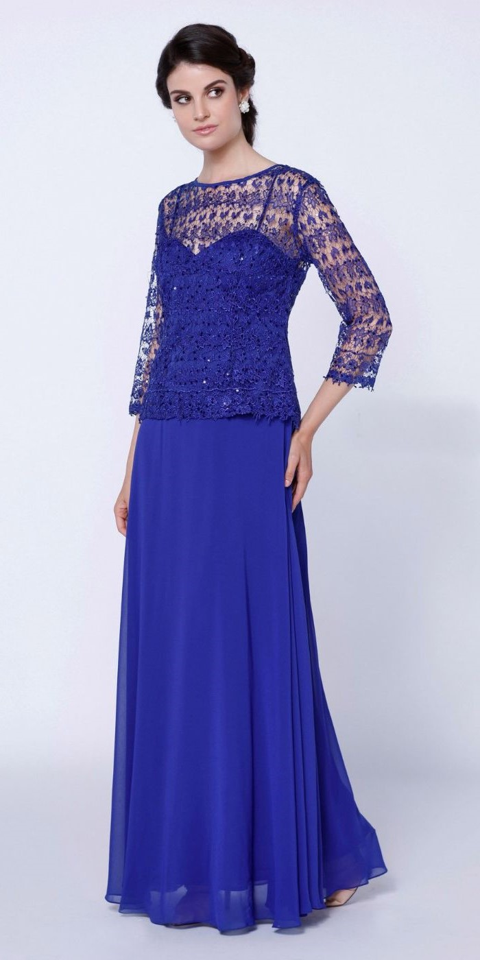 lace top, blue chiffon, mother of he bride summer dresses, black hair, in a low updo