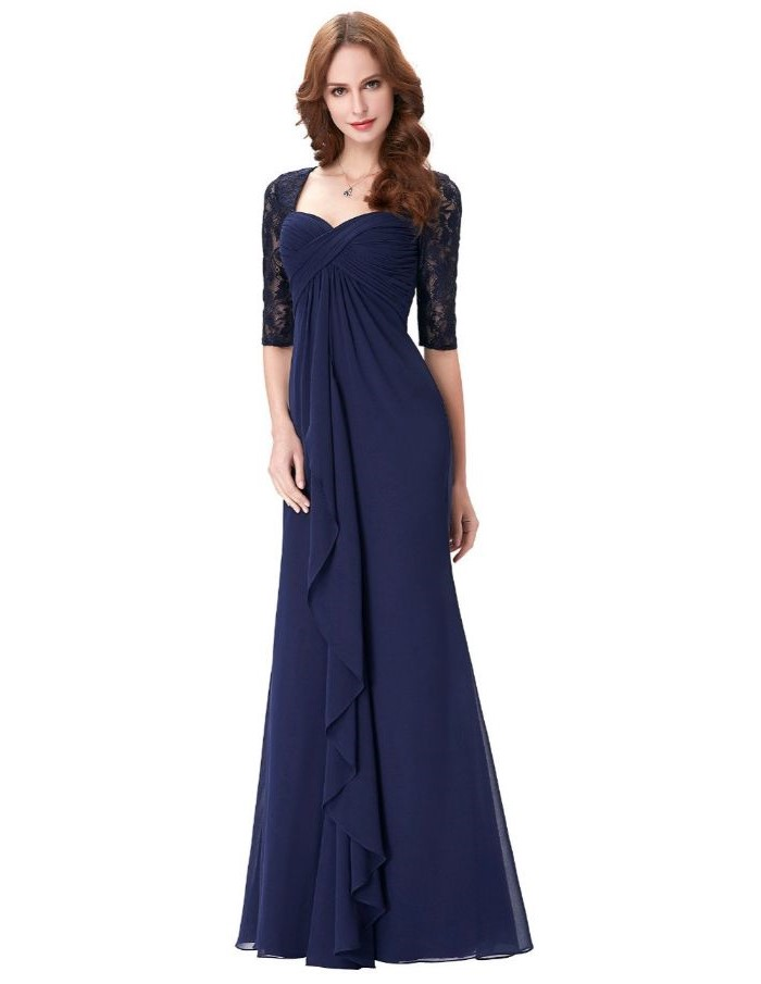 blue chiffon, lace quarter sleeves, mother of the bride summer dresses, long brown wavy hair