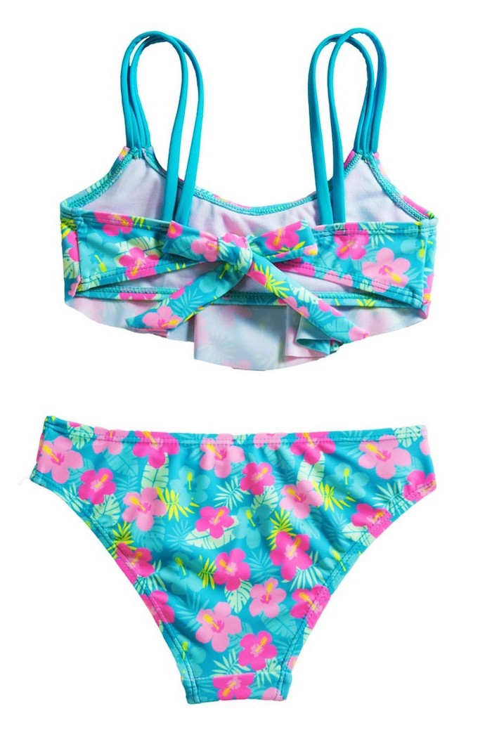 tween bathing suits, blue with pink flowers print, two piece, white background