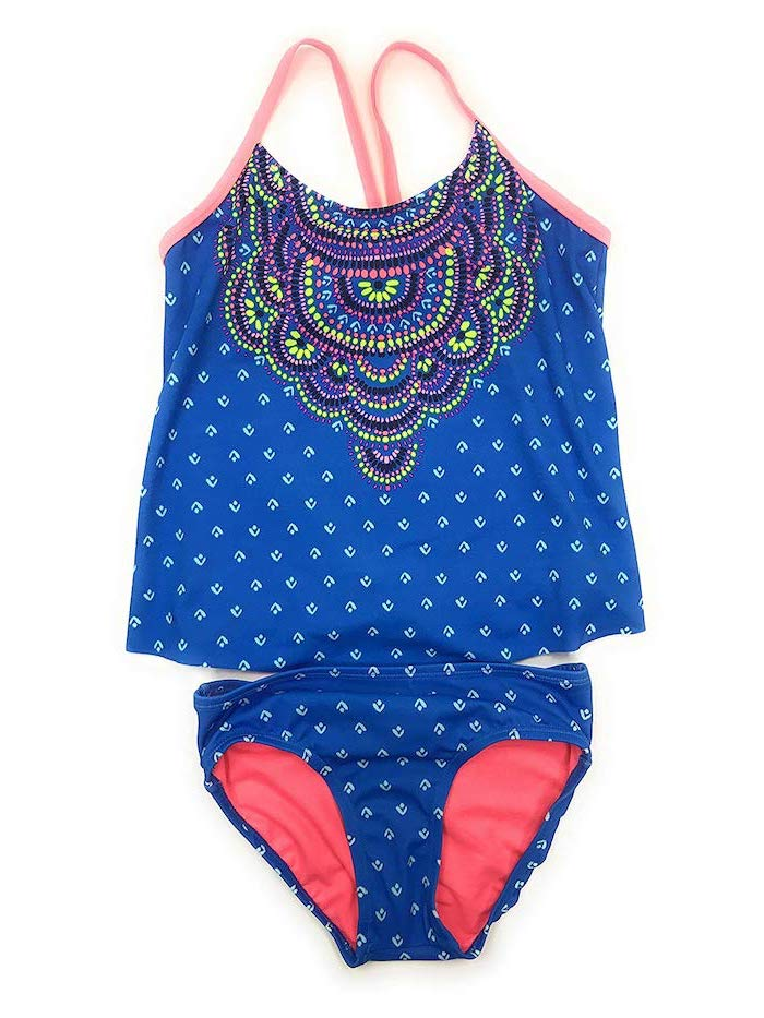 two piece, tween bathing suits, blue and white, colourful print, white background, pink straps