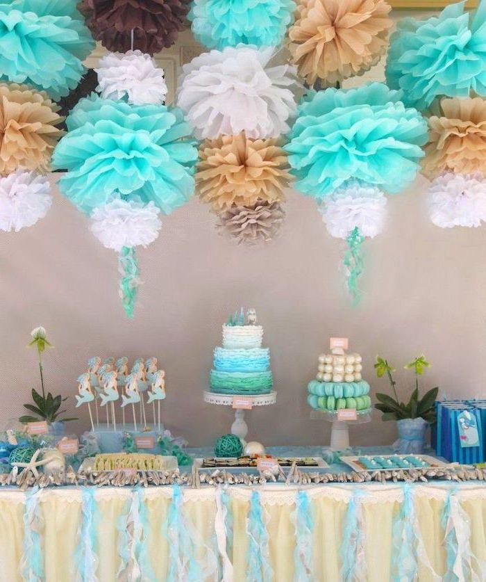 fun games for teens, blue beige and white, paper flowers, mermaid theme, three tier cake, mermaid cookies