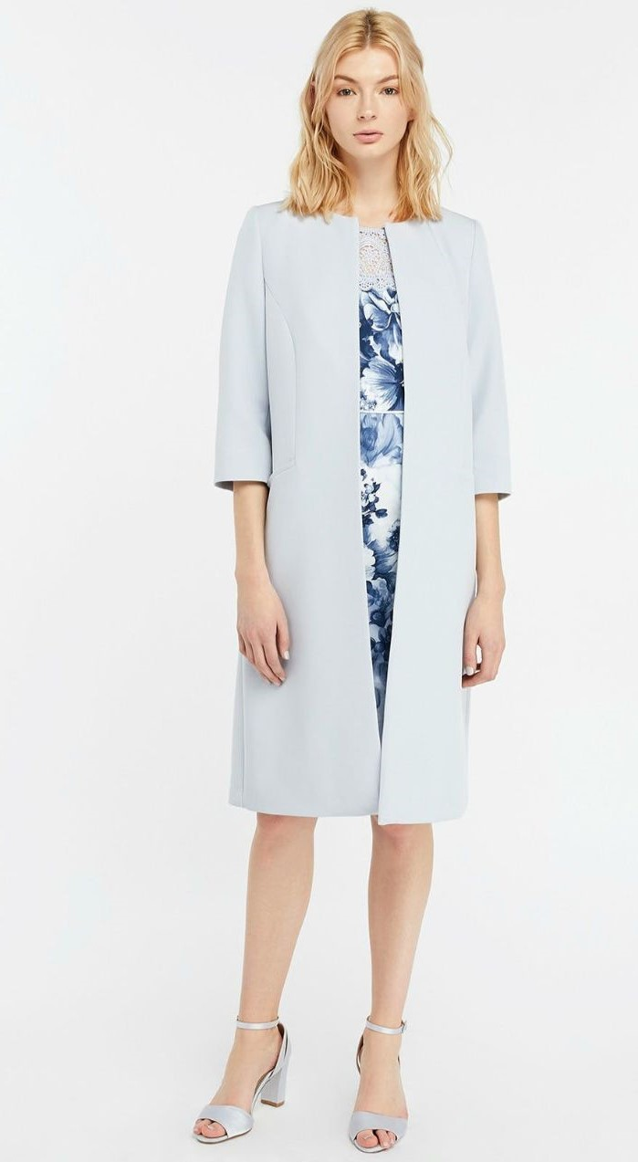short blonde hair, blue and white dress, light blue coat, mother of the bride evening dresses, quarter sleeves