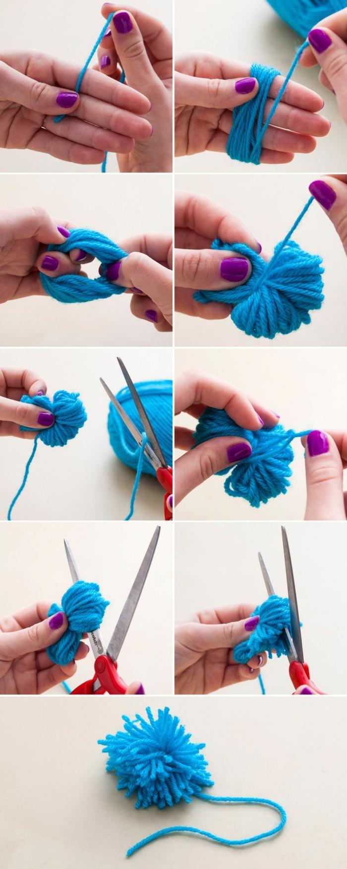 how to make a pom pom, blue pom pom, purple nail polish, easy diys, step by step, diy tutorial
