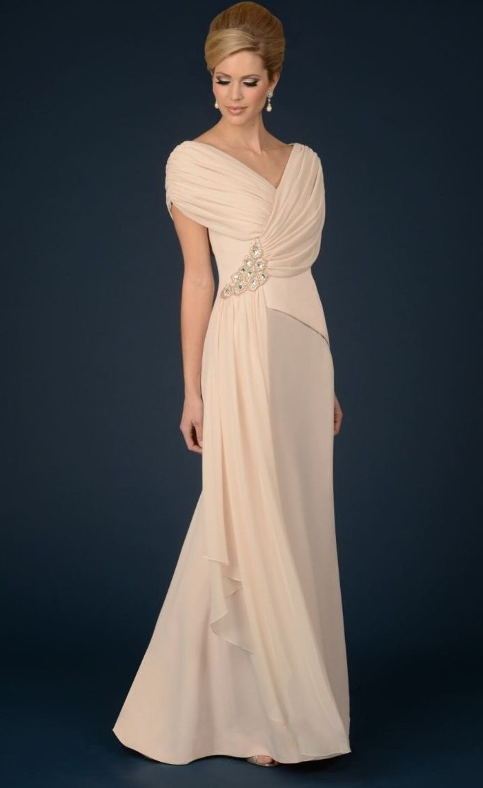 blush chiffon, mother of the bride evening dresses, off the shoulder neckline, blonde hair, in a low updo