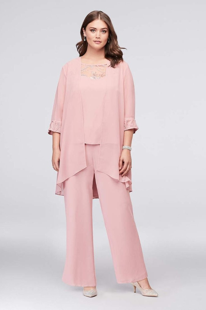 three piece suit, pink chiffon, top jacket and pants, mother of the bride tea length, brown wavy hair, nude heels