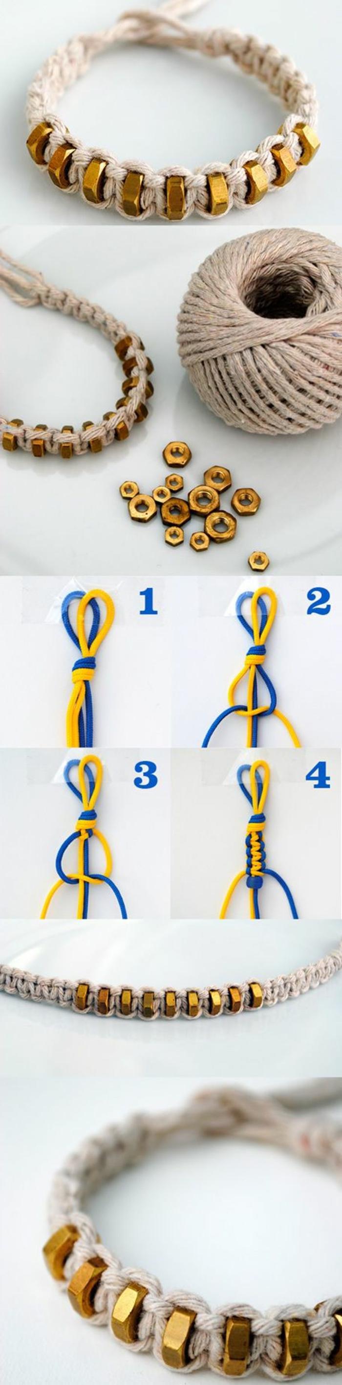 beige yarn, screws amongst it, braided bracelet, easy diy projects, diy tutorial, step by step