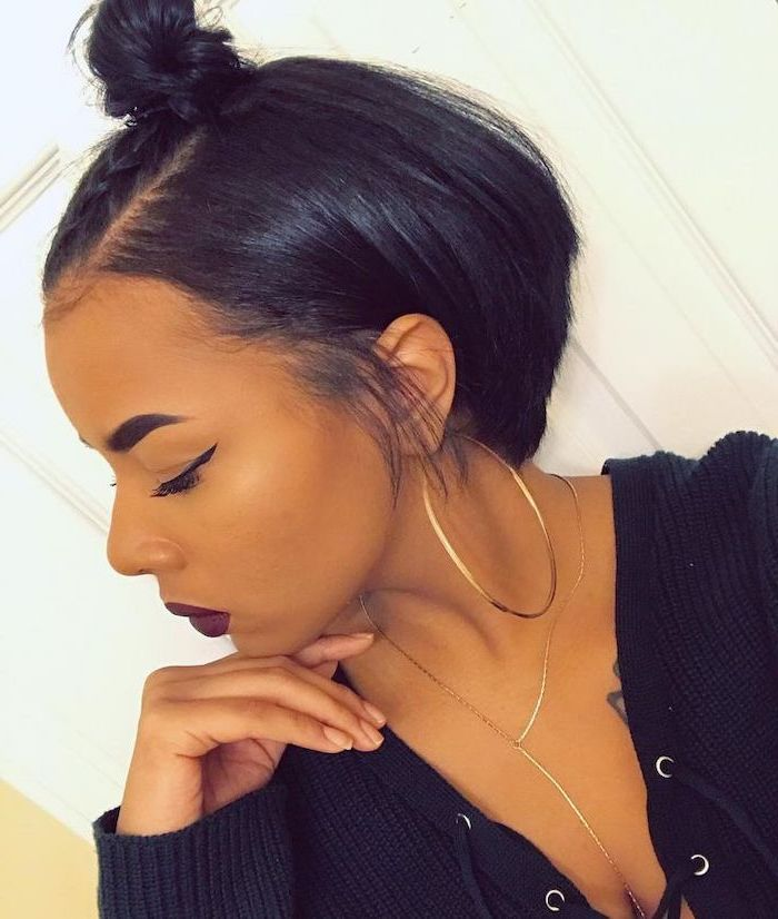 braided bun, short hairstyles for black girls, black sweater, large hoop earrings