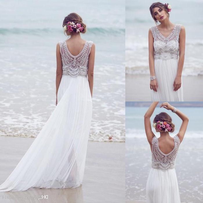 photo collage, lace top, chiffon skirt, floral hair accessory, boho beach wedding dress, brown hair