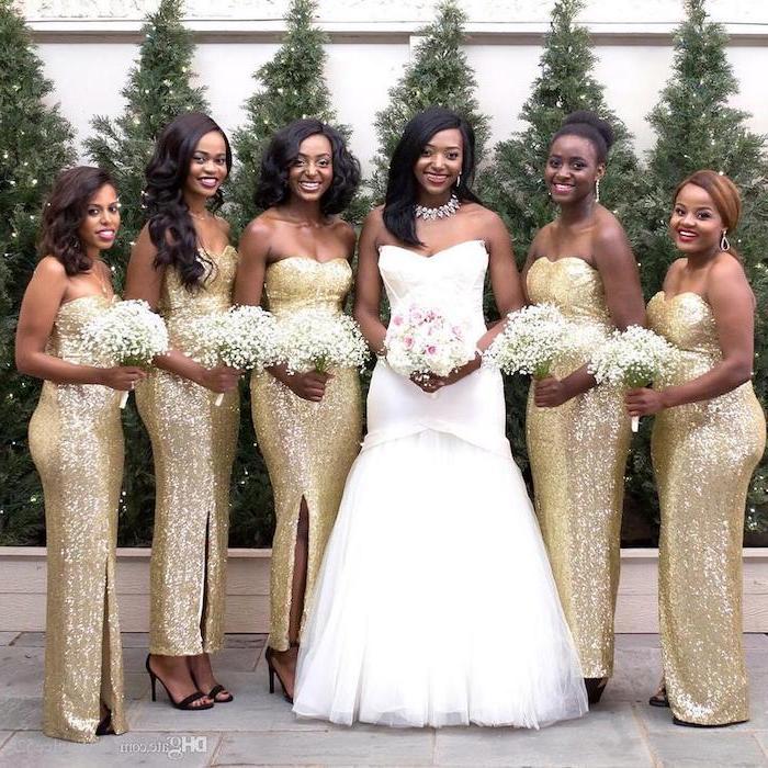 strapless dresses, gold dresses, rose gold sequin bridesmaid dresses, flower bouquets