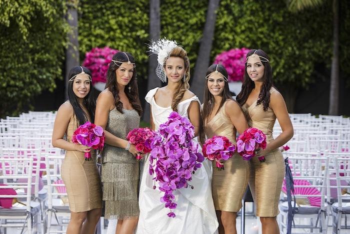 vintage style, short gold dresses, purple flower bouquets, rose gold sequin bridesmaid dresses