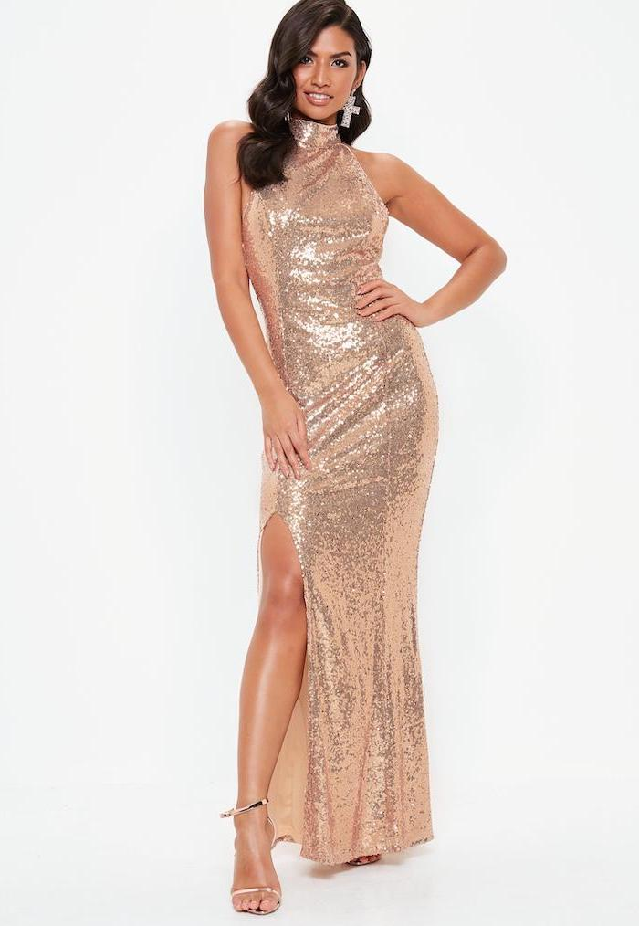 black wavy hair, gold sandals, rose gold bridesmaid dresses, with slit, bare shoulders
