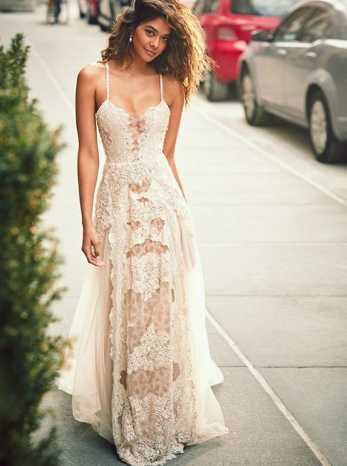 plus size beach wedding dresses, brown curly hair, long lace dress, sweetheart neckline