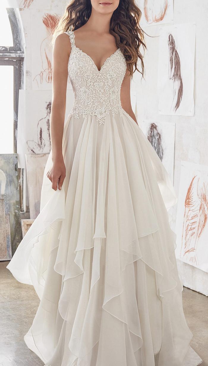 long white dress, lace corset, chiffon skirt, plus size beach wedding dresses, long brown curly hair