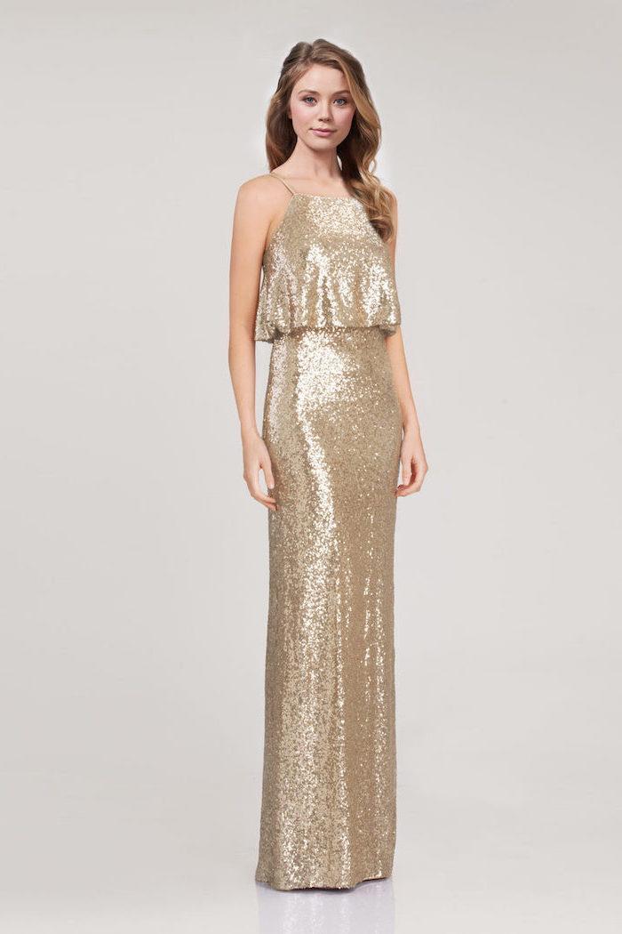 spaghetti straps, long sequinned dress, rose gold bridesmaid dresses, long brown wavy hair