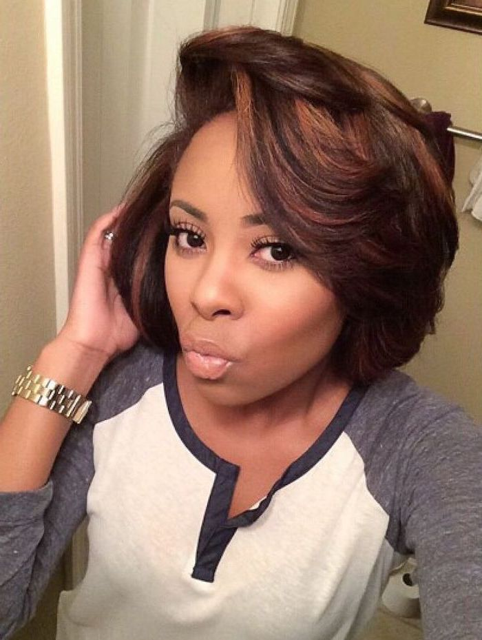 grey and white blouse, brown hair, blonde highlights, short hairstyles for black girls