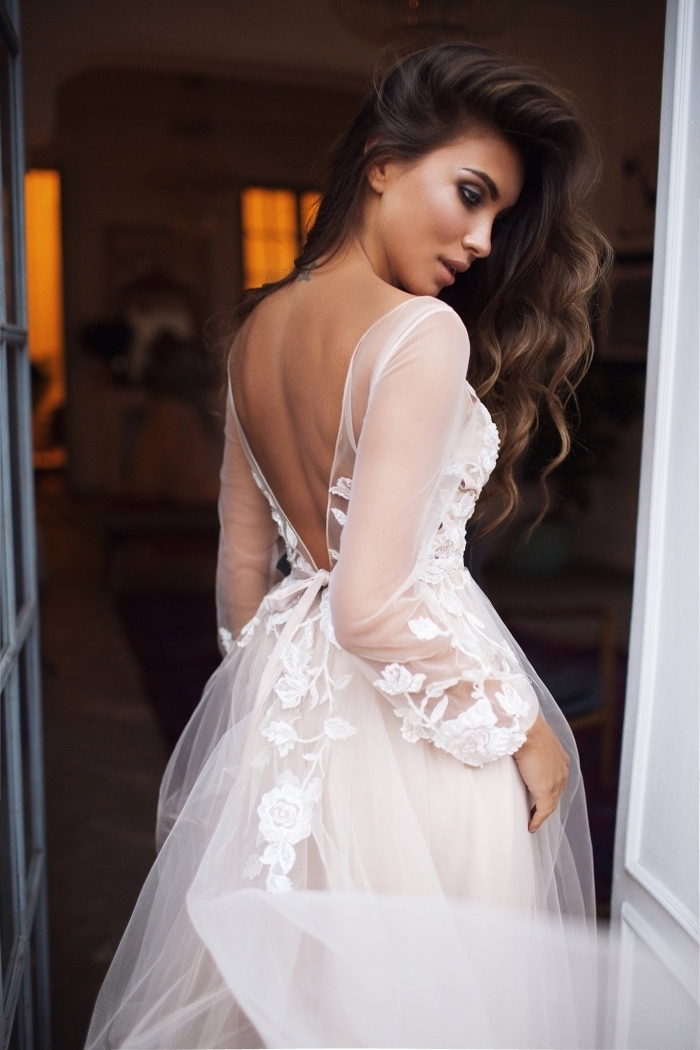 brown long wavy hair, tulle and lace, wedding dresses with sleeves, bare back