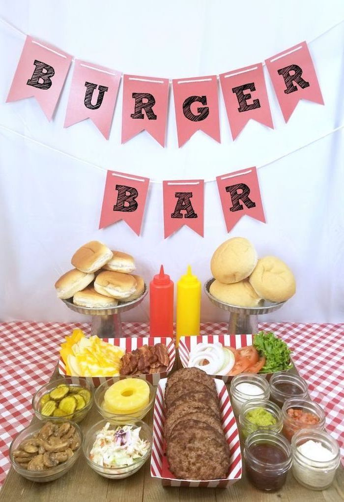 burger bar, birthday party themes, lettuce and tomato, ketchup and mustard, make your own burger