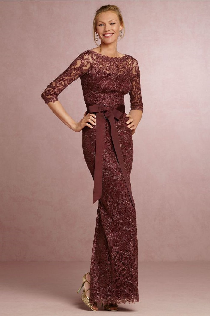 red burgundy, lace dress, mother of the bride tea length, quarter sleeves, blonde hair, in a low updo