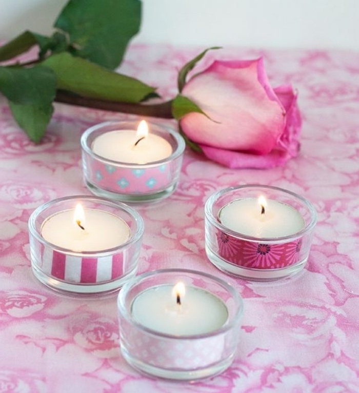 glass candle holders, with washi tape, arts and crafts for toddlers, pink rose