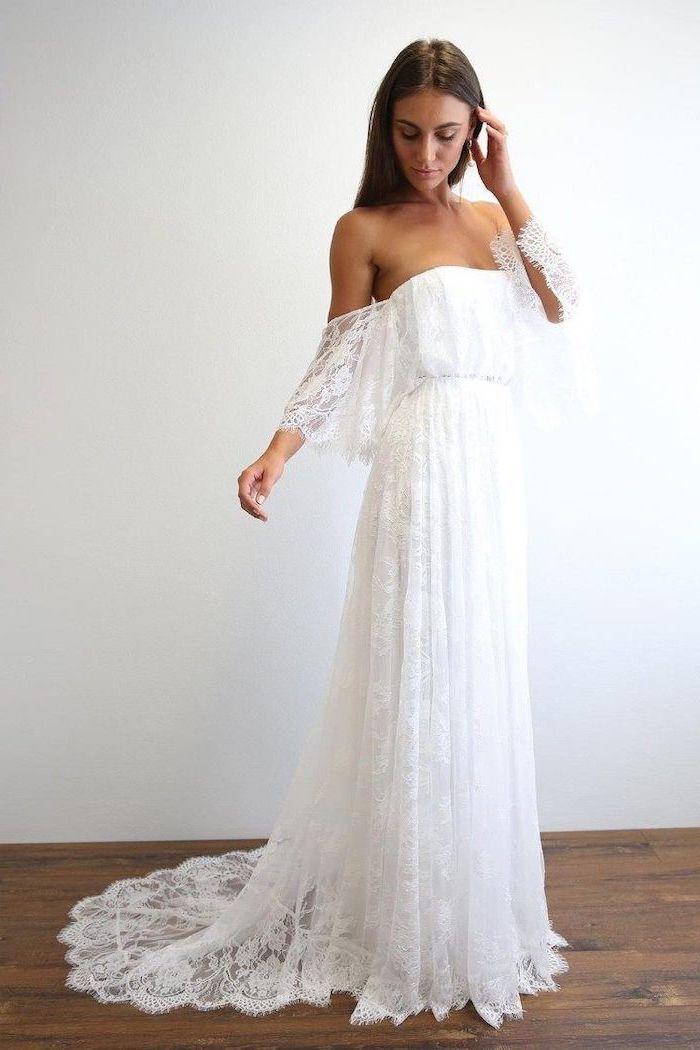 long lace dress, pff the shoulder, simple beach wedding dresses, long brown straight hair