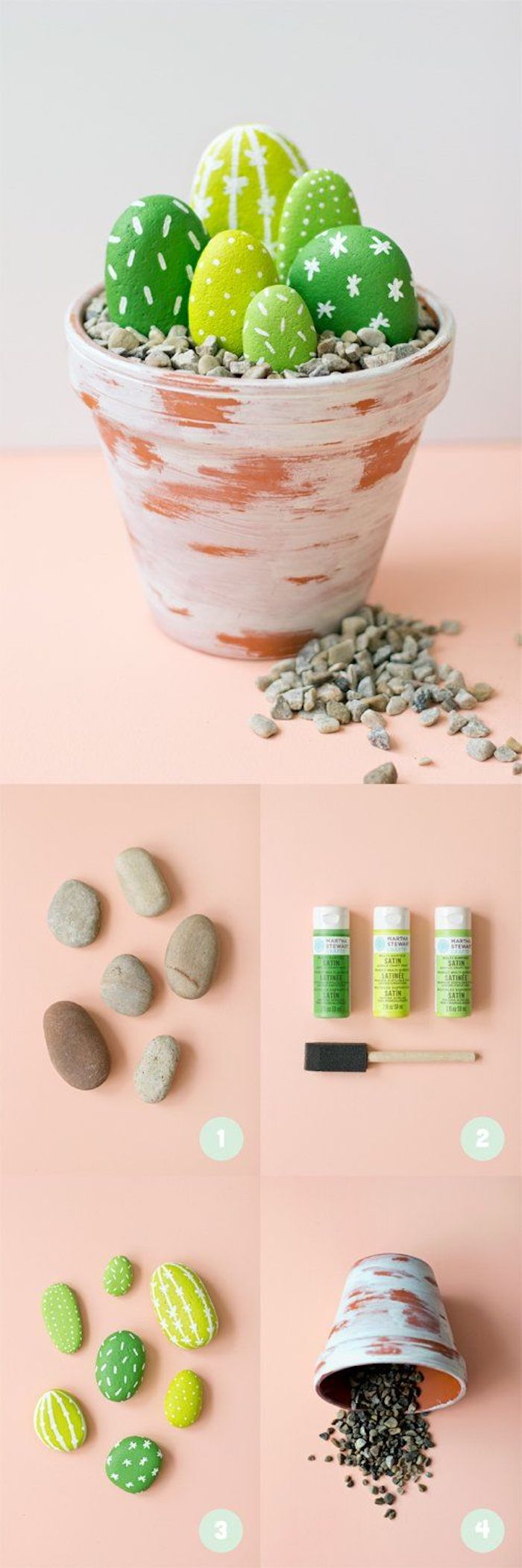 ceramic pot, green cactuses, made of rocks, arts and crafts for toddlers, step by step, diy tutorial