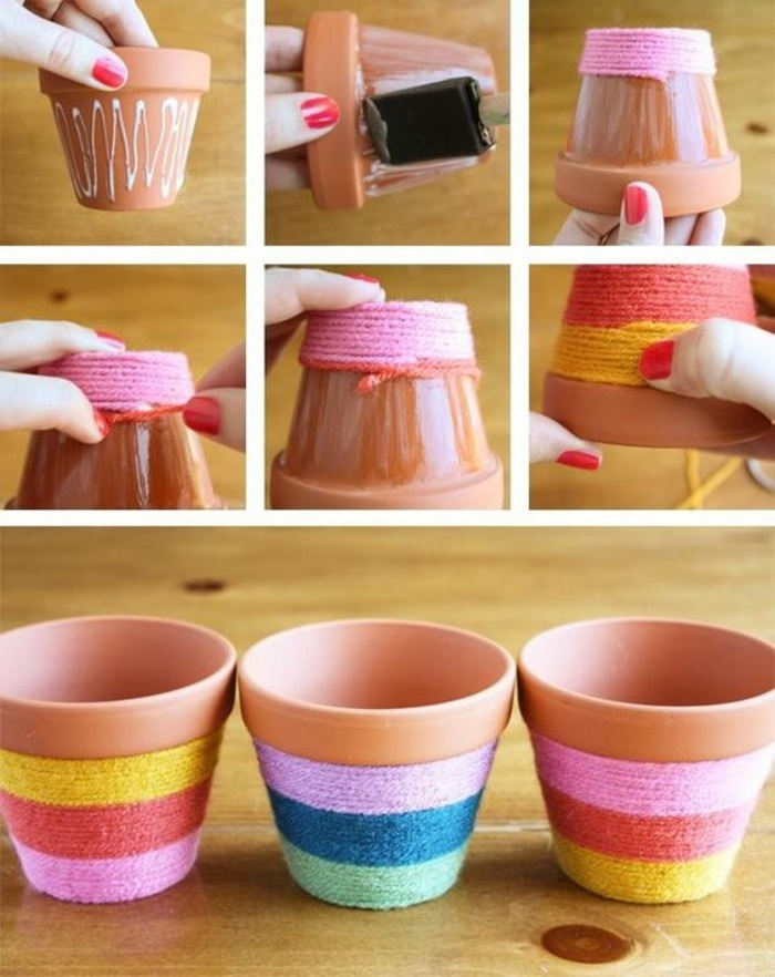 ceramic pots, yarn around them, easy diy projects, yellow and pink, blue and purple, orange and green