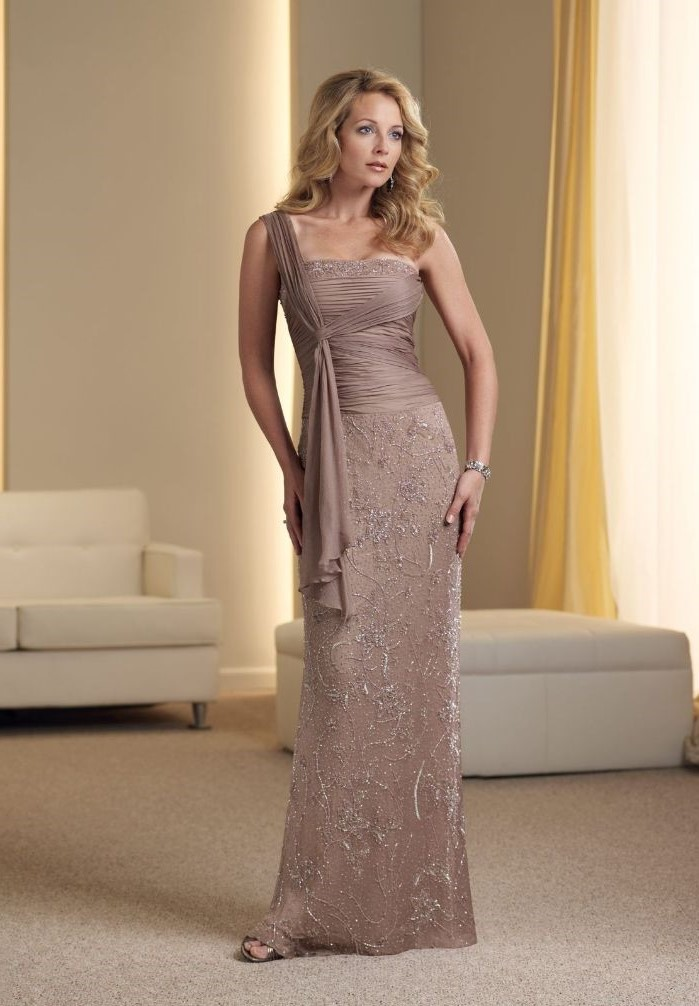 champagne dress, lace and chiffon, mother of the bride evening dresses, blonde wavy hair