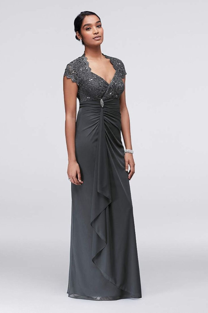 dark grey dress, lace top, chiffon skirt, black hair, in a low updo, mother of the bride evening dresses