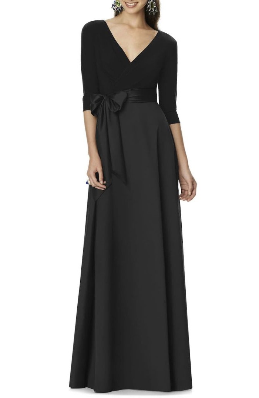 mother of the bride evening dresses, black satin, v neckline, satin bow, white background