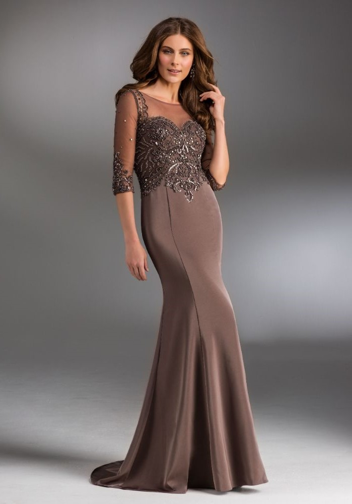 petite mother of the bride dresses, champagne dress, satin skirt, lace and tulle top, brown wavy hair