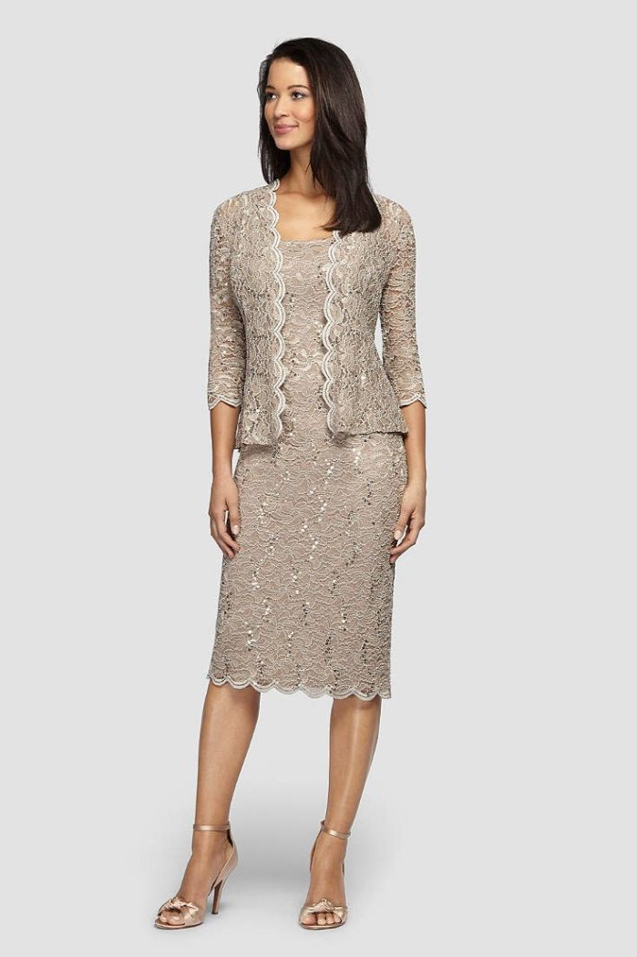 two piece, grey lace suit, with jacket, below the knee dress, mother of the bride tea length, black hair