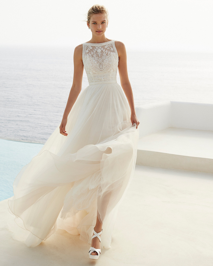 simple beach wedding dresses, long white dress, made of chiffon and lace, white sandals
