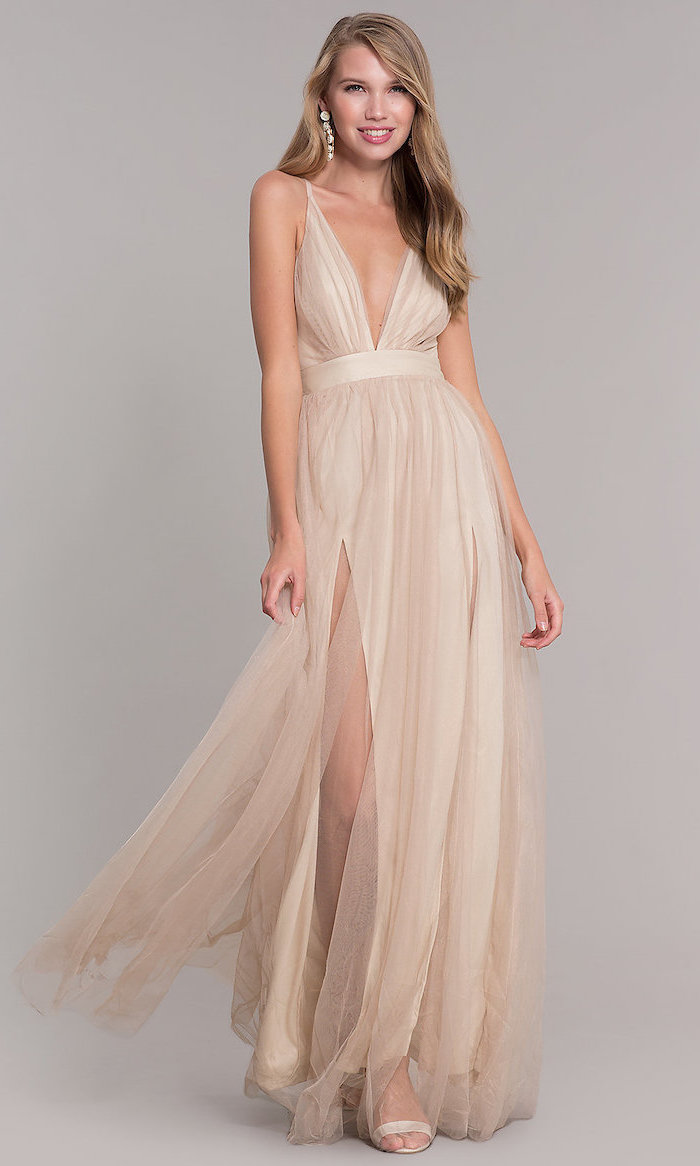 plunging v neckline, vintage bridesmaid dresses, chiffon dress, with slit, nude sandals, long blonde wavy hair