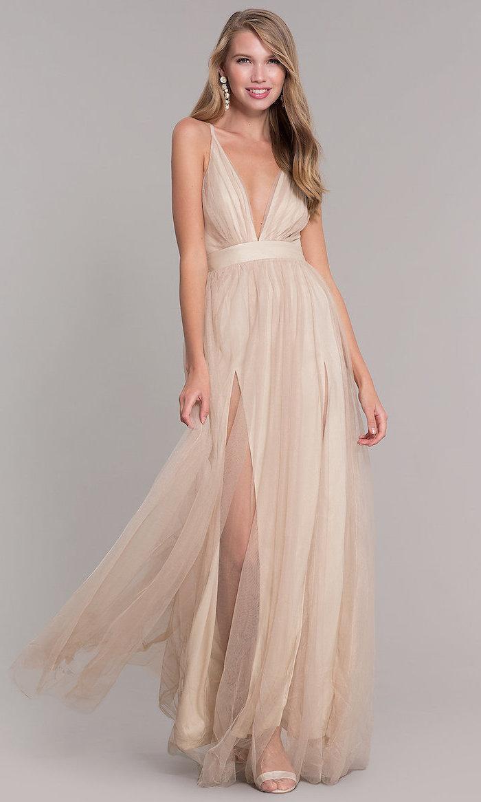 plunging v neckline, vintage bridesmaid dresses, chiffon dress, with slit, nude sandals, long blonde wavy hair