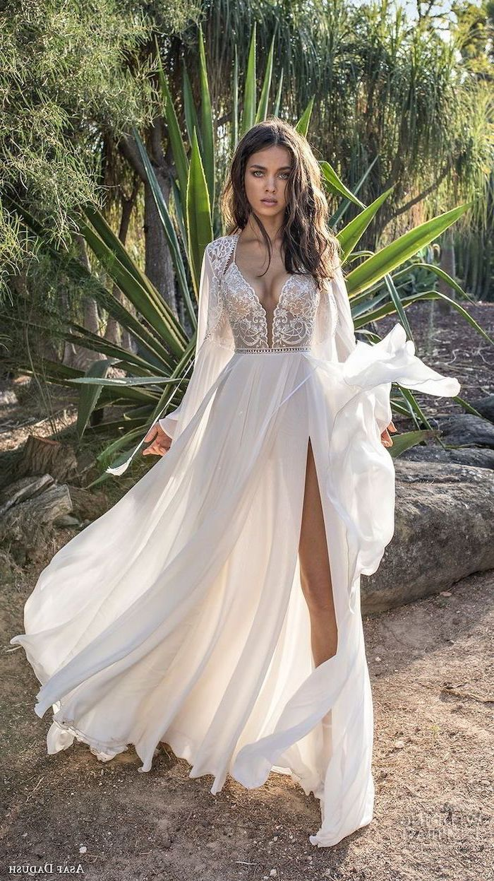 v neckline, long chiffon dress, wedding dresses with sleeves, long brown wavy hair