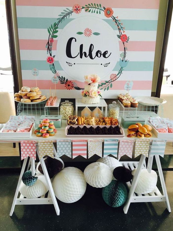 pink blue and white theme, white wooden table, fun games for teens, donuts on plates