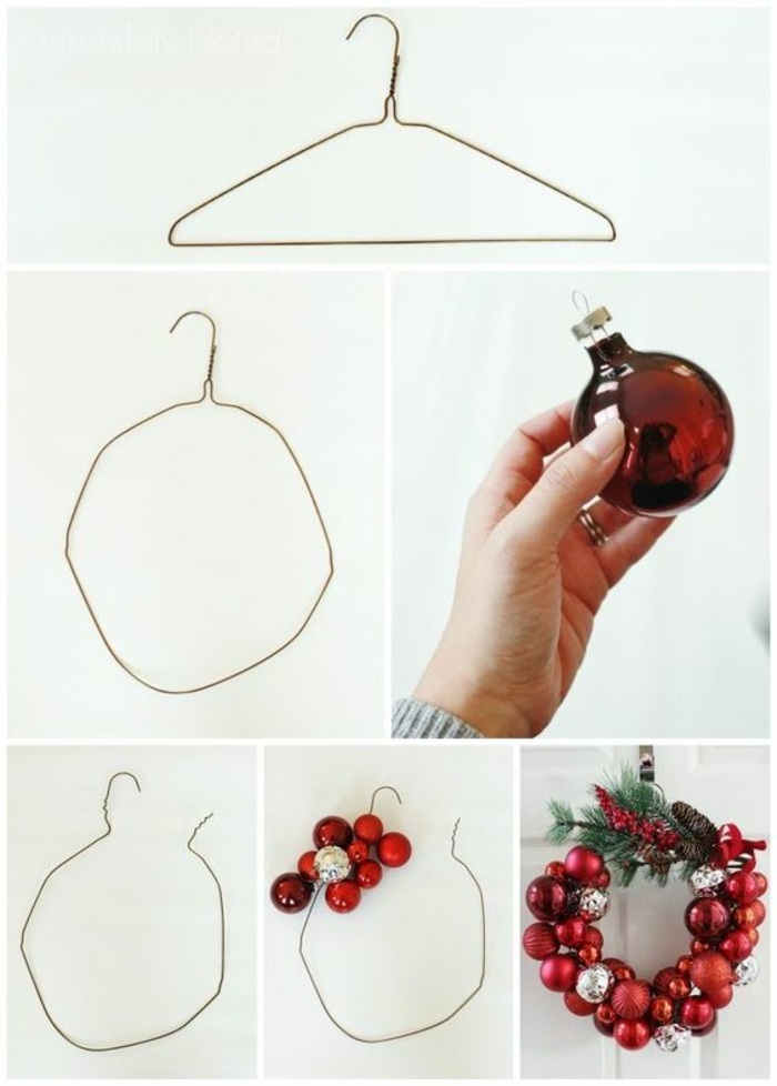 craft ideas for adults, christmas wreath, made with a hanger, red baubles