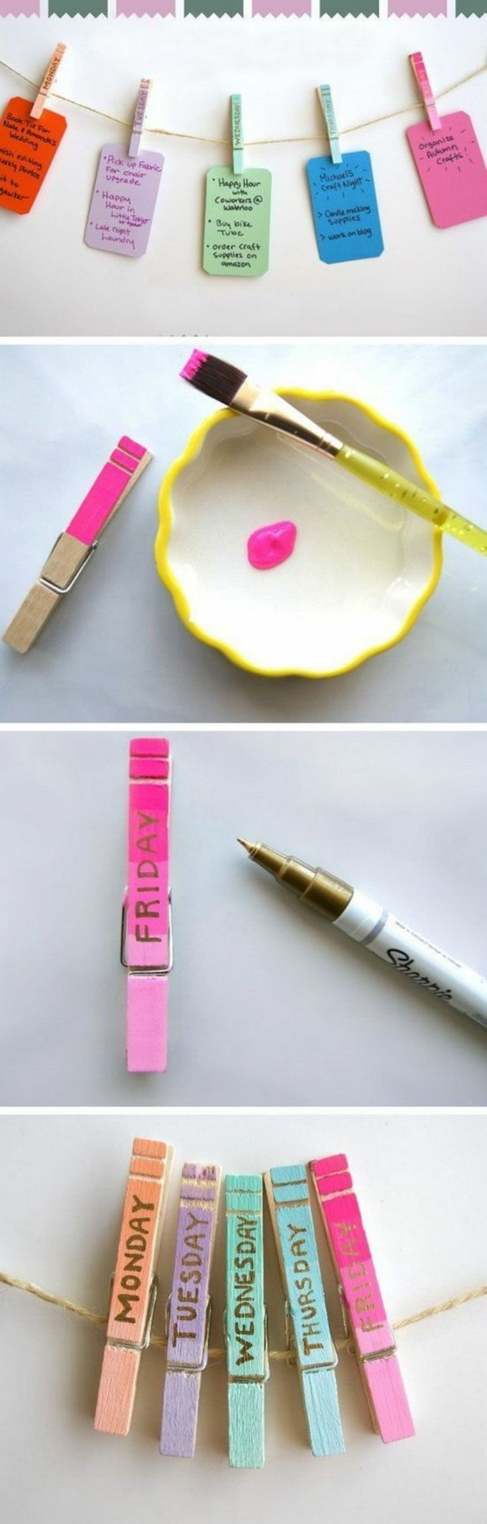 coloured clothespins, craft ideas for adults, for every day of the week, pink paint