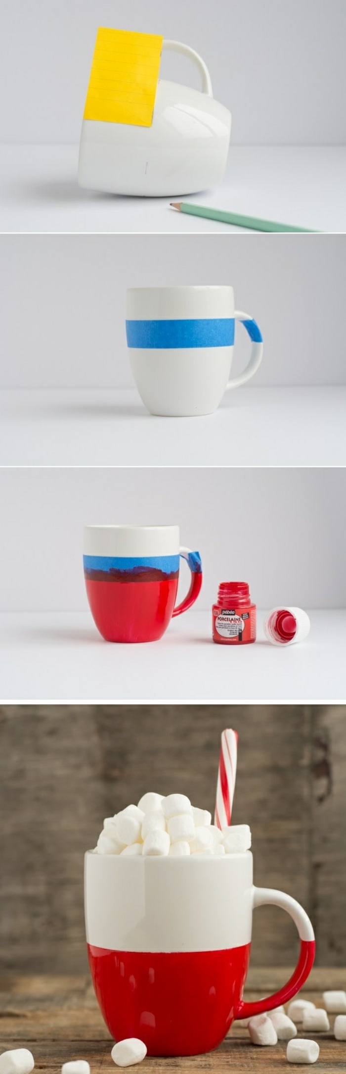 diy tutorial, half white, half red, coffee mug, crafts for adults, step by step